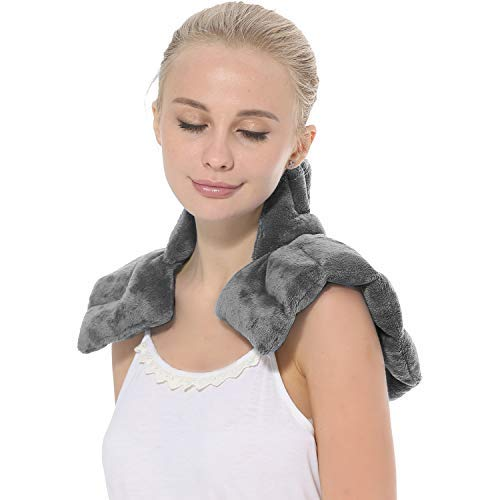 Aroma Season Heated Neck Warmer for Pain Microwave Neck and Shoulder Heat Pad Heated Neck Wrap Neck Pain and Arthritis Relief (Grey)