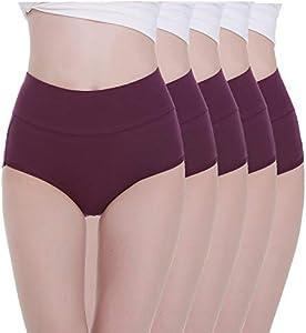 TUUHAW Braguita de Talle Alto Algodón para Mujer Pack de 5 Culotte Bragas de Cintura Alta Cómodo Talla Morado M