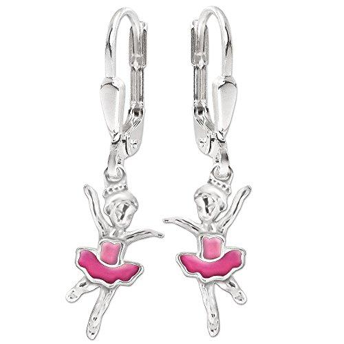 Clever Schmuck Silberne Mädchen Ohrhänger 28 mm kleine Ballerina 12 mm pink und rosa lackiert glänzend STERLING SILBER 925 für Kinder im Etui rosa