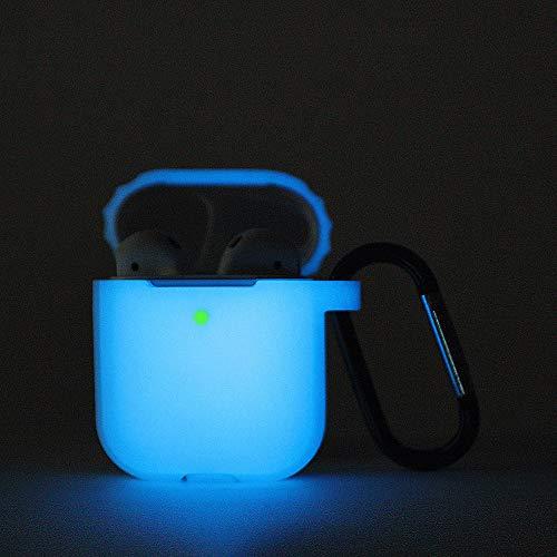 Airpods Schutzhülle Hülle Kompatibel mit AirPods 2 & 1, KOKOKA Silikon AirPods Schutzhülle hülle [LED an der Frontseite Sichtbar][Stoßfeste Schutzhülle] Nachtlicht blau