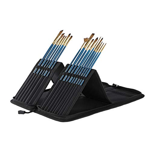 Professional Artist Paintbrush Set & Pop up Carrying Case Travel Brush Easel- Long Handle Sablesque Bristles Assorted Size for Watercolor, Plein Air, Acrylic, Oil, Gouache Painting [Set of 15]