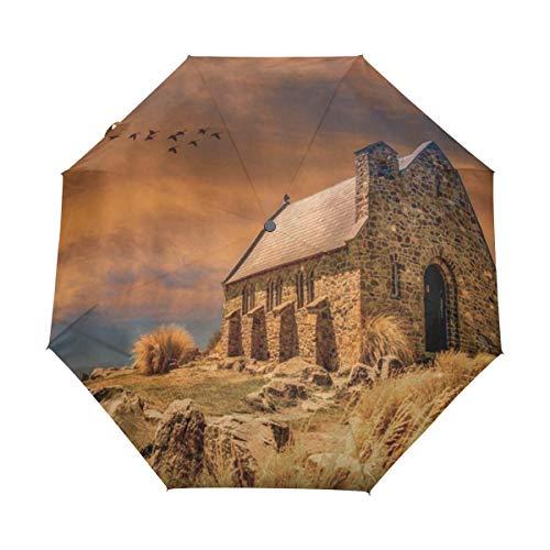 DUILLY Automatischer Regenschirm zum Öffnen/Schließen,Ländliches Haus-rustikales Scenenry-Ziegelstein-Kamin-Bauernhaus, das zu den Fantasie-Himmel-Vogel-Hochebenen-Unkräutern schließt