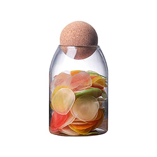 UPKOCH Glass Food Storage Jar Transparent Borosilicate Airtight Sealed Can Container Canister with Cork for Spices Sugar Coffee Cookies Candy 800ML