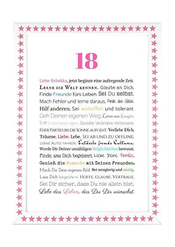 18. Geburtstag – Geschenkidee zur Volljährigkeit – Personalisiertes Bild mit Rahmen – Geburtstagsgeschenk für Mädchen/Frauen oder Beigabe zum Geldgeschenk, Kunstdruck, DIN A4 - 7