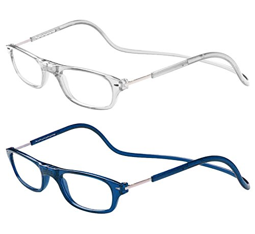 TBOC Pack: Occhiali da Vista Lettura Presbiopia - (Due Unità) Graduati +2.50 Diottrie Montatura Trasparente e Blu Regolabili Pieghevoli Chiusura Clip Magnetici Vicino Donna Uomo Appendere Collo
