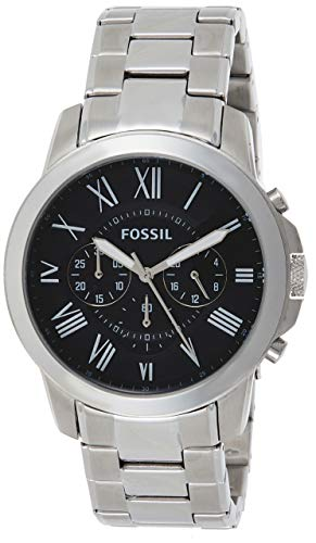 Fossil Men's Grant Quartz Stainless Chronograph Watch, Color: Silver (Model: FS4736IE)