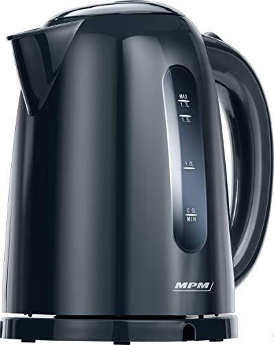 MPM MCZ-85/G1 Hervidor de Agua Electrico Inalambrico de Polimero Termoresistente, 1,7 Litros, 2200W, Libre de BPA, Negro