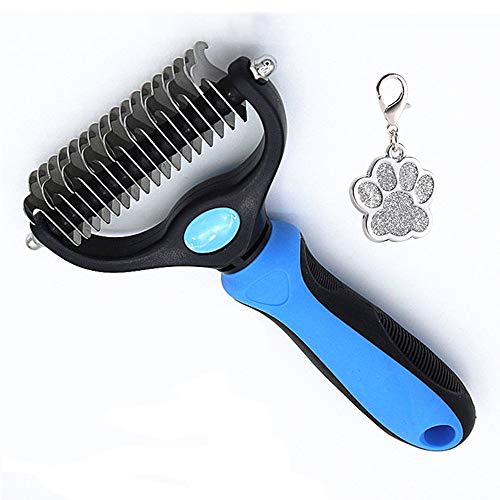 Pet Grooming Brush for Cats amp Dogs  Double Sided Safe Dematting Rake Comb for Easy Mats amp Tangles Removing  No More Nasty Shedding and Flying Hair