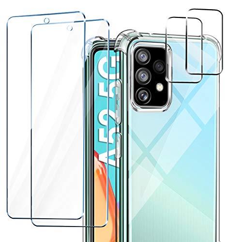 AROYI Funda Compatible con Samsung Galaxy A52 5G/4G, 2 Pack Cristal Templado y 2 Pack Lente de cámara, Carcasa Suave TPU Silicona Airbag Anti-Choque - Transparente