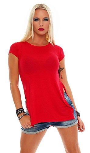 Longshirt mit Schlitze Shirt Gr. S M L, 0217 Rot S/M 36/38