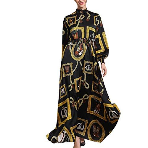 Muslim Damen Einfarbig Langarm Kleid Tunika Abaya Dubai Elegant Kleider Maxikleid Abendkleid Knöchellang Kleid Hochzeit Kaftan Robe Gewand Islamische Kleidung Ramadan Gebet Kostüm (Schwarz,M)