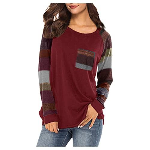 neiabodos Blusa elegante curvada de mujer de manga larga con bolsillos aflojados, cuello redondo, estilo casual, con costuras de contraste, Vino, S