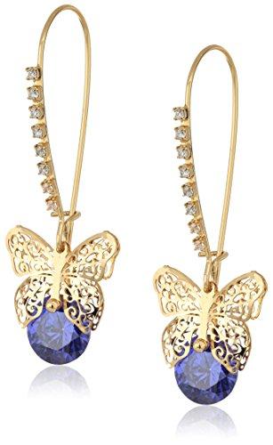 Betsey Johnson CZ Butterfly Dangle Earrings