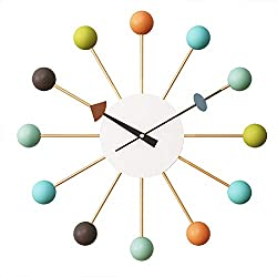 SHISEDECO George Nelson Ball Clock Multicolor, Large Size Wall Clock Decorative Modern Silent Quartz Creative Fashion Hanging Decoration Clock for Home Kitchen Living Room Office Bedroom Study Room