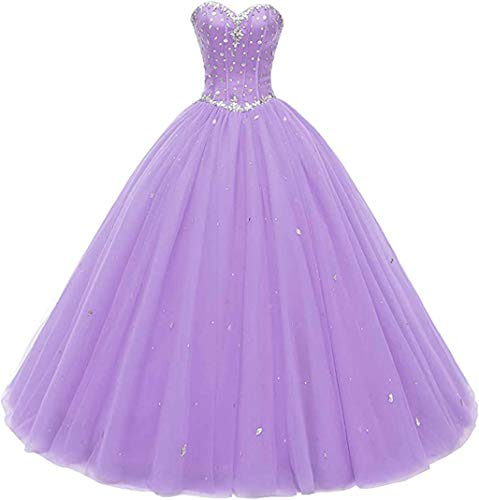 Likedpage Women's Sweetheart Ball Gown Tulle Quinceanera Dresses Prom Dress (US10, Lavender)