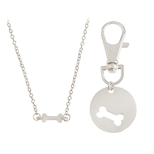 Meiligo Fashion 2 Pcs Best Friends Friendship Gold Silver Dog Bone Charm Tag Necklace Key Chain Owner and Dog Jewelry Matching Pet Collar Key Chain Pendant (Silver(2pcs))