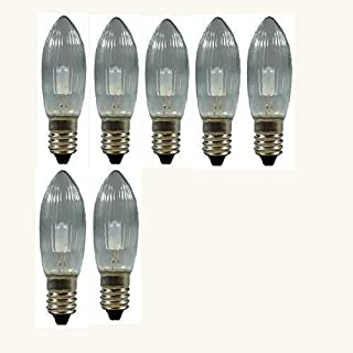 7 Stück LED Spitzkerzen 8-55V, 0,1 Watt, E 10, für Schwibbogen, Pyramide u.s.w.