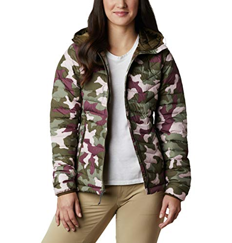 Columbia Damen Powder Lite Kapuzenjacke, Damen, Powder Lite Hooded Jacket, Olivgrün, traditionelles Camouflage, Small
