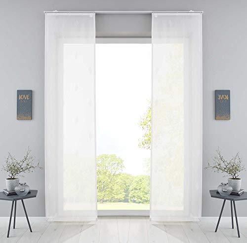 Gardinenbox 2er Set Flächenvorhänge »Bitlis« HxB 245x60 cm Weiß Voile Jacquard Musterung Schiebegardinen Raumteiler Wohnzimmer, 202080-2