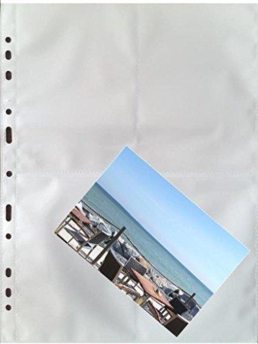 100 x A4 Fotohüllen, Sammelhüllen mit weißer Mittelfolie, 8 Taschen à 10x15 cm, recycelbar !
