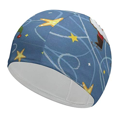 Christmas Santa Snowman s Swim Cap for Women Waterproof 92% Polyester+8% Spandex Comfortable Bathing Cap for Any Water Sports