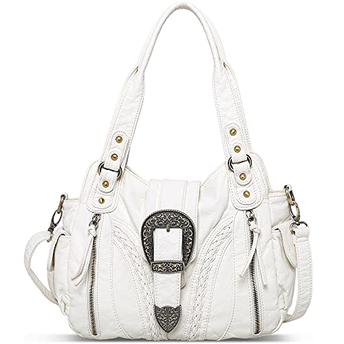 Montana West Handbags for Women Washed Leather Shoulder Purses Concealed Carry Tote Satchel Bags Handgun Large Crossbody Bag White MBB-MWC-020WT