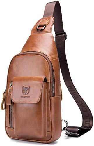 Preisvergleich Produktbild Umhängetasche für Herren,  echtes Leder,  Vollnarbenleder,  lässiger Schulter-Rucksack,  Reisen,  Wandern,  Vintage-Stil,  mit Kabelloch für Kopfhörer