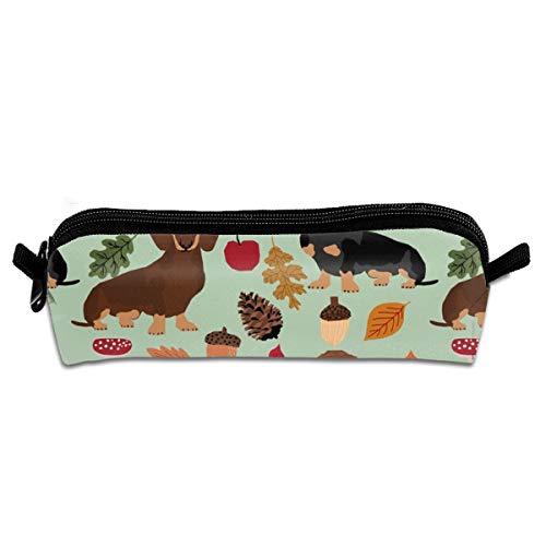 Dachshunds, perro Doxie, hojas de otoño, lindo diseño de perro, raza, calabazas, hojas de bellota, estudiantes, estuche de lona para lápices, estuche de papelería, estuche de maquillaje, bolsa de cosméticos 21 x 5.5 x 5 cm