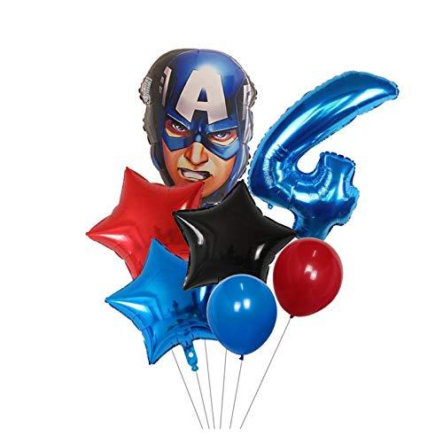 YSJSPKK Globos 7 unids Spider Hierro Capitán América Hulk Ballons Superhéroes Set 30 Pulgadas Número Globos Decoraciones de Fiesta de cumpleaños (Color : Blue Number 4 Set)