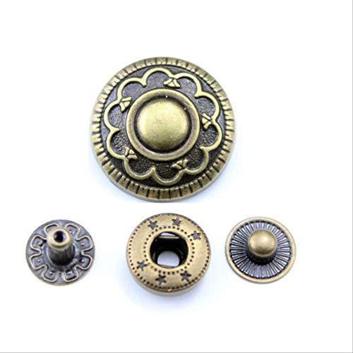 10 sets Retro Knop voor DIY Lederen Portemonnees Kaarten Tassen Kleding Handgemaakte Snap Knoppen Craft Supplies Over 17 mm Foto Kleur