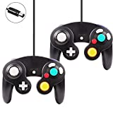 Gamecube Controller,Poulep Wired Game Gube Gamepad for Wii Console(Black and Black)