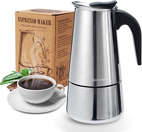 Godmorn Cafetera italiana,Cafetera espressos en Acero inoxidable430,4 tazas(200ml),Conveniente para la cocina de inducción,Cafetera Moka Clásica,Plata,Perfecta para Uso Doméstico y en la Oficina