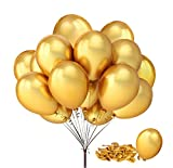 FECEDY 100pcs/pack 12' Gold Shiny Balloons for Party Decoration 12 inches