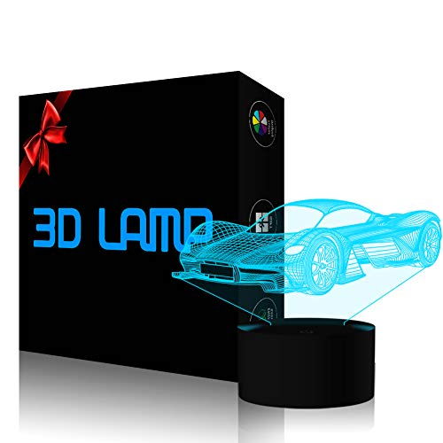 3D Illusion Lamp Car Led Night Light, USB Powered 7 Colours Flashing Touch Switch Bedroom Decoration Lighting for Kids Christmas Gift