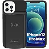 "NEWDERY Battery Case for iPhone 12 Pro Max 6.7"", 4800mAh Portable Protective Backup Qi Wireless Charging Case Compatible with iPhone 12 Pro Max, Rechargeable Extended Battery Charger Case (Black)"