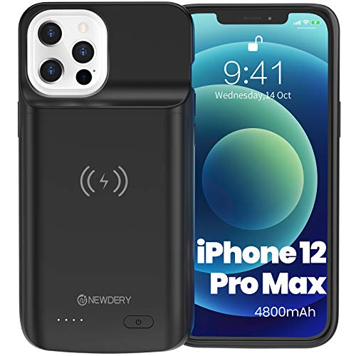 """NEWDERY Battery Case for iPhone 12 Pro Max 6.7"""", 4800mAh Portable Protective Backup Qi Wireless Charging Case Compatible with iPhone 12 Pro Max, Rechargeable Extended Battery Charger Case (Black)"""
