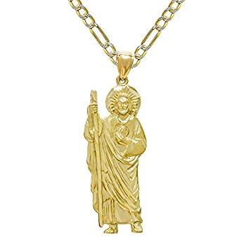 Pyramid Jewelry 14K Yellow Gold San Judas  St Jude  Charm Pendant Necklace  20 Inches White Pave Figaro Chain