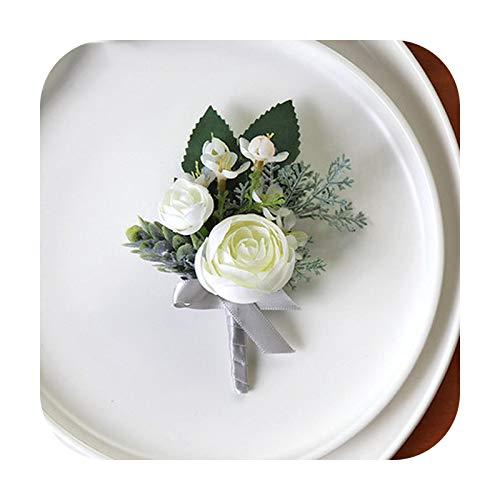Art Flower Pulsera de ramillete de la muñeca de la boda de las damas de honor Flores de seda del novio Boutonniere Pin de los hombres rosas blancas de la boda ramillete accesorios-D Boutonniere
