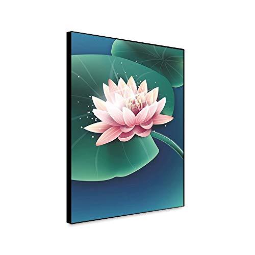 RTCKF Abstrakte Lotus Leinwand Malerei Moderne Plakatkunst Cuadros Neue chinesische hängende Leinwanddruck Kunstdruck Wohnaccessoires Wohnzimmer Wohnkultur A4 60x80cm