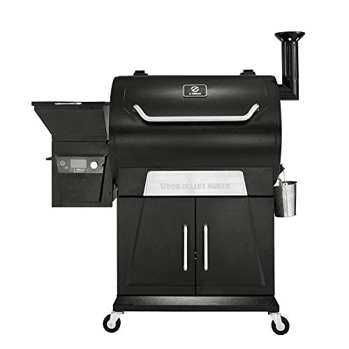 Z GRILLS ZPG-700D2 8 in 1 Wood Pellet Portable Steel Grill Smoker for Outdoor BBQ Cooking with Digital Temperature Control, Storage Area, and Grill Cover
