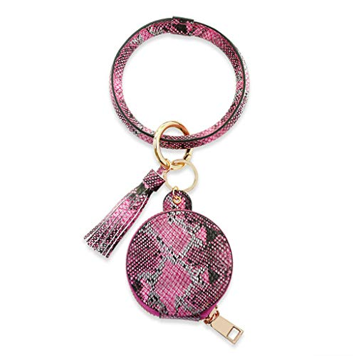 VVXXMO Damen-Ohrhörer-Schlüsselanhänger, Lederarmband, Kreis, Schlüsselanhänger, Quaste, Münzbörse mit Make-up-Spiegel Gr. Einheitsgröße, rose pink
