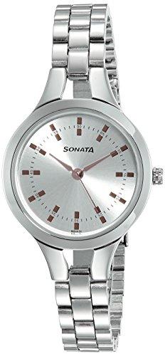 Sonata Acero Daisies analógico Esfera de Plata Mujer Reloj 8151SM01