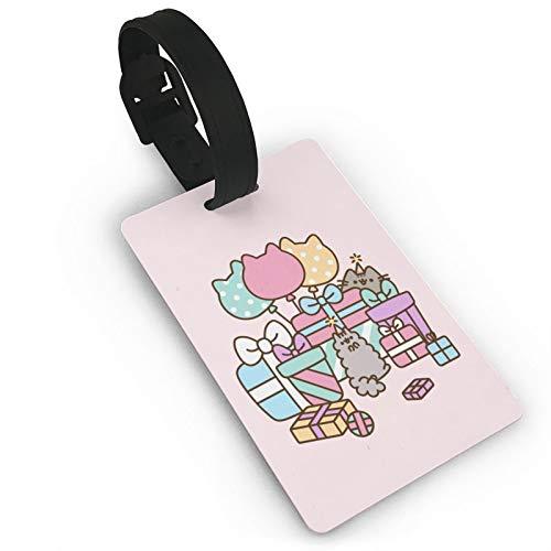 Etiqueta de equipaje rosa globo regalo Push-EEN gato, anime ID etiquetas tarjeta, etiquetas de viaje para maleta, maletero, privacidad, nombre de identificación, etiquetas de 3.7 x 2.2 pulgadas