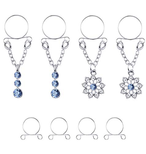 ORAZIO 2 Pairs Non-piercing Nipplerings for Women Fake Nipplerings Piercings Clip On Nipple Rings 316L Stainless Steel Faux Dangle Nipple Jewelry