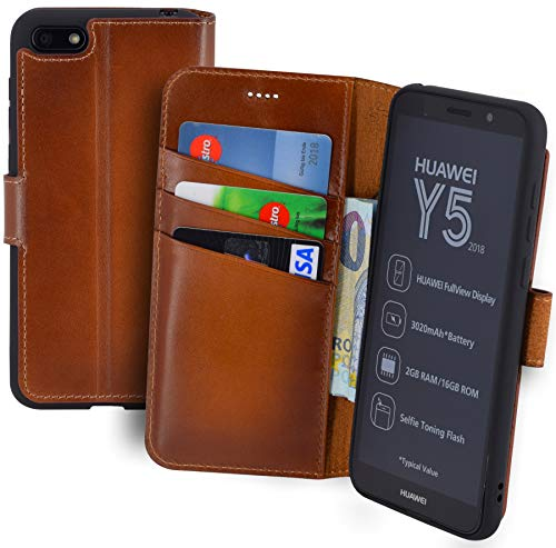 Suncase Book-Style (Slim-Fit) Leather Case Mobile Phone Case Cover (met standaard functie en kaartenvak - onbreekbare binnenschaal) voor Huawei Y5 (2018), gebrand cognac
