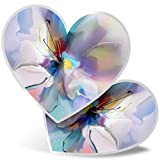 Impresionante pegatinas de corazón de 7,5 cm, diseño abstracto de flores azul violeta para portátiles, tabletas, equipaje, libros de chatarras, neveras, regalo genial #2822