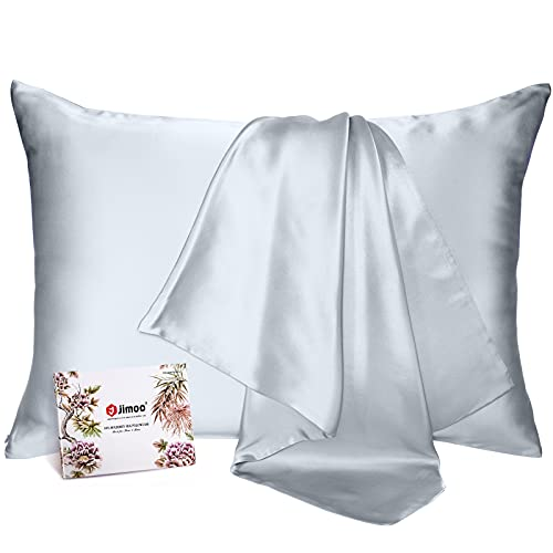 J JIMOO 100% Mulberry Silk Pillowcase for Hair and Skin, Both Sides 19 Momme Pure Natural Silk Pillowcases Soft Breathable Standard 20''×26'', Silver...