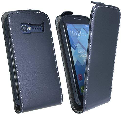 ENERGMiX Handytasche Flip Style kompatibel mit Alcatel One Touch POP C5 5036D in Schwarz Klapptasche Hülle