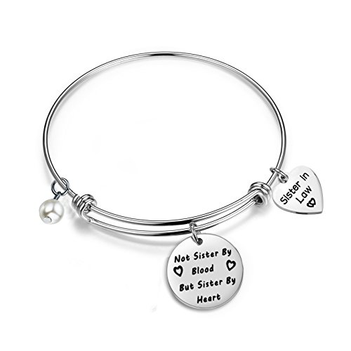 Gzrlyf Sister in Law Bracelet Not Sister by Blood But Sister by Heart Charm Bangle Bracelet Sister...