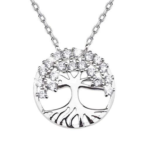 Create idea S925 Collar con colgante de árbol de la vida, con circonita cúbica para familia y mujer, plata de ley